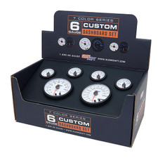 White 7 Color Custom Dashboard Gauge Set Packaging