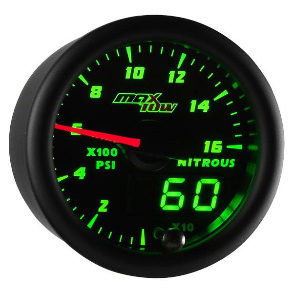 Black & Green MaxTow 1,600 PSI Nitrous Pressure Gauge