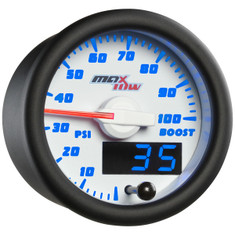 White & Blue MaxTow 100 PSI Boost Gauge