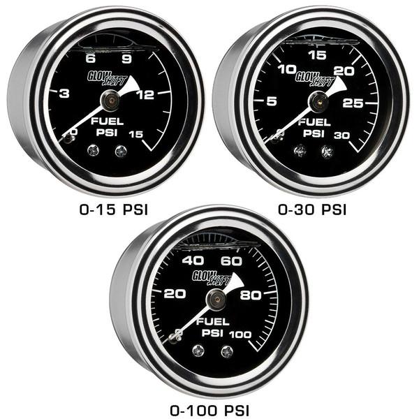 15 PSI, 30 PSI & 100 PSI Liquid Filled Mechanical Fuel Pressure Gauges - Black Gauge Face
