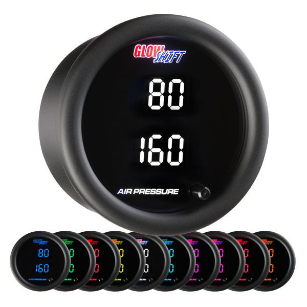 10 Color Digital Dual Air Pressure Gauge