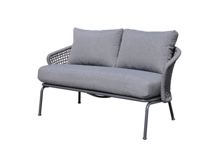 Lattice outdoor rope and aluminium 138cm lounge sofa