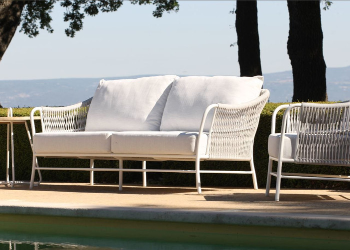 Roma outdoor cord and aluminium sofa