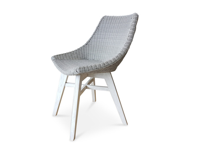Obi outdoor rattan, synthetic wicker dining arm chair with teak legs