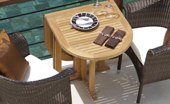 Balcony teak, fold down outdoor table