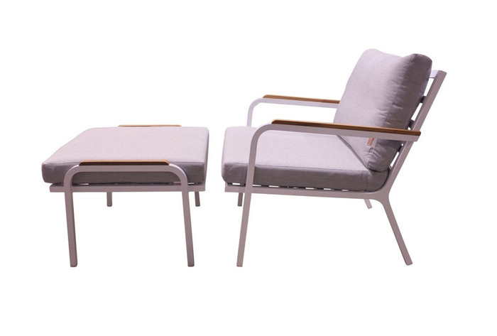 Sanibel outdoor aluminium lounge chair and ottoman