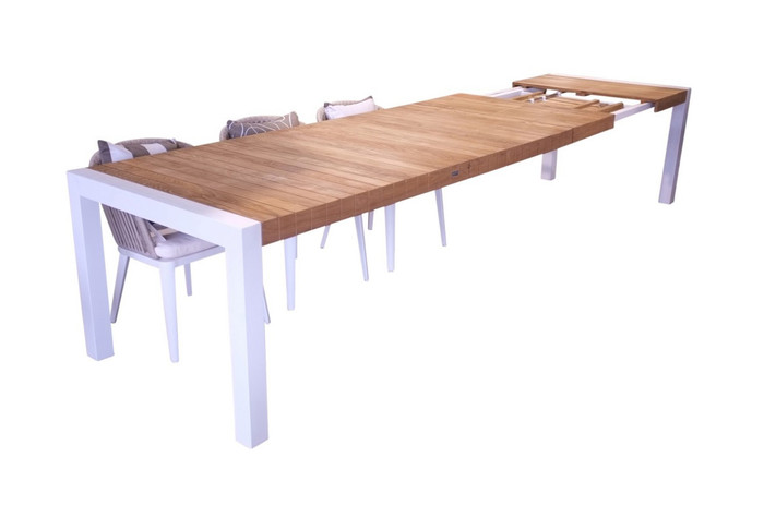 Ocala outdoor extending dining table with teak top, 220-370x100, white frame