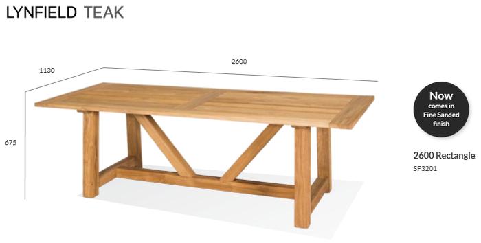 Lynfield Outdoor Teak Table - 2600 Rectangle
