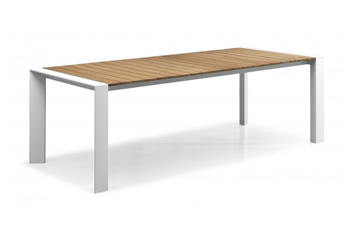 Orlando outdoor dining table with teak top, 220x100, white