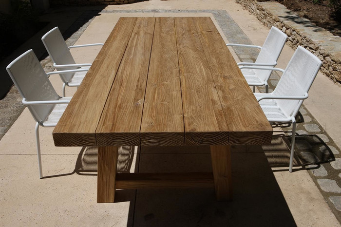 Block aged teak outdoor table 240x100