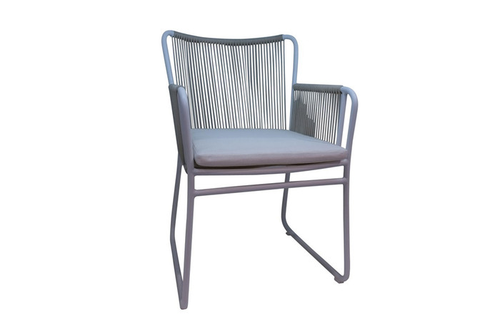 Coast outdoor rope and aluminium dining arm chair