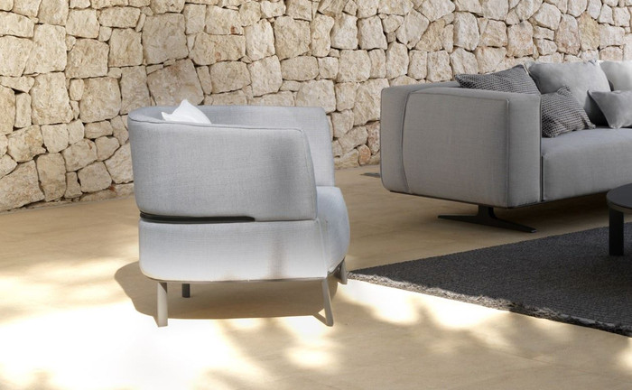 Eden outdoor aluminium framed fabric arm chair by Talenti