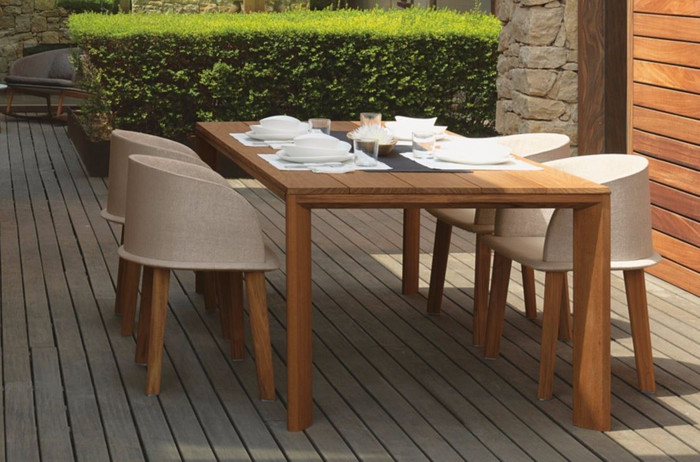 Cleo outdoor dining table with Iroko wood frame and top by Talenti
