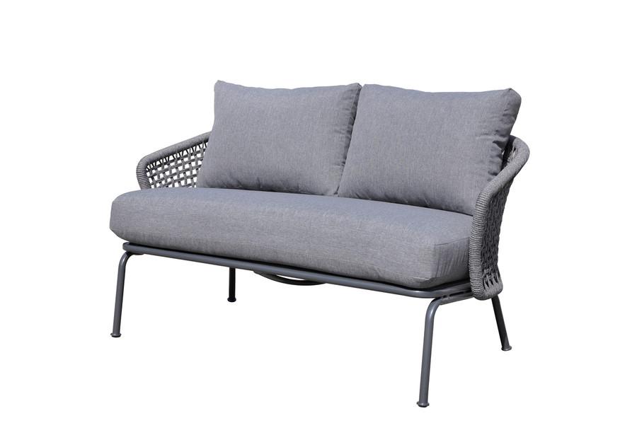 Lattice outdoor rope and aluminium 138cm lounge sofa