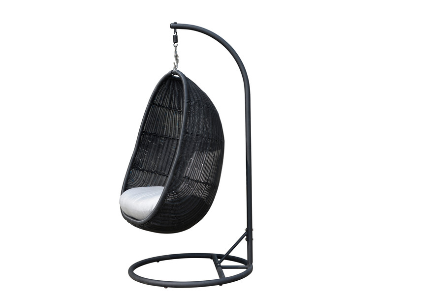 Black wicker, Sunbrella premium Natte grey cushions