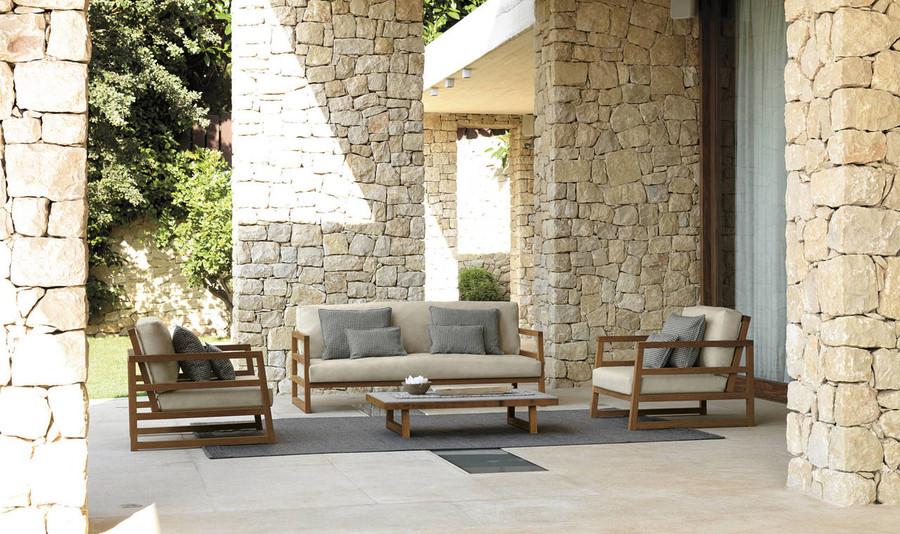 Alabama outdoor sofa by Talenti - Iroko wood