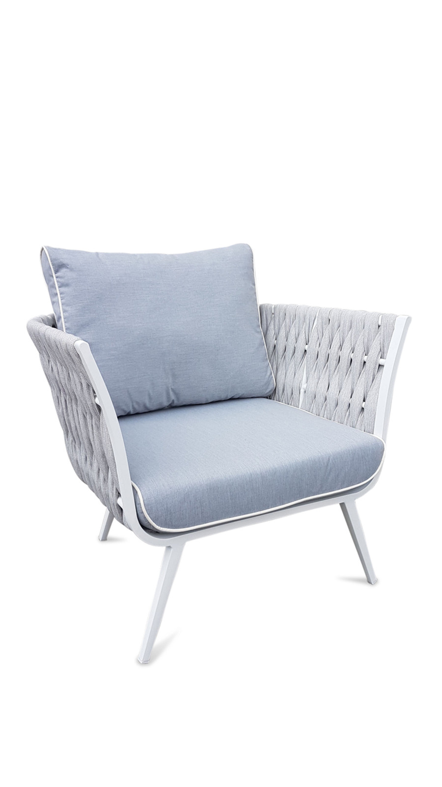 Zen outdoor strap and aluminium lounge chair