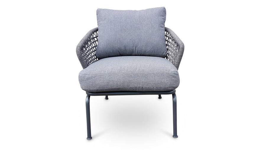 Lattice outdoor rope and aluminium lounge chair