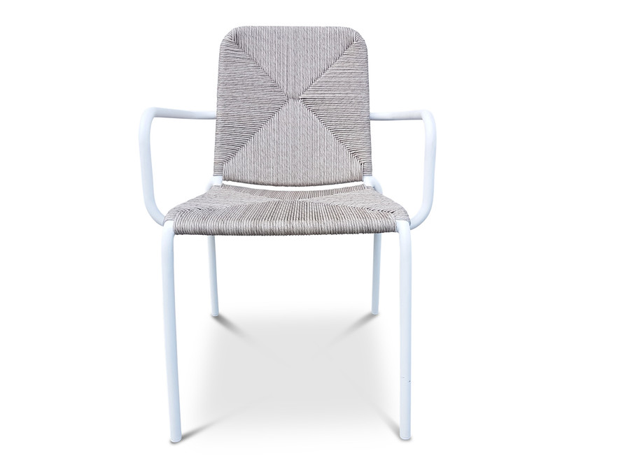 Calvin outdoor aluminium and wicker stacking arm chair