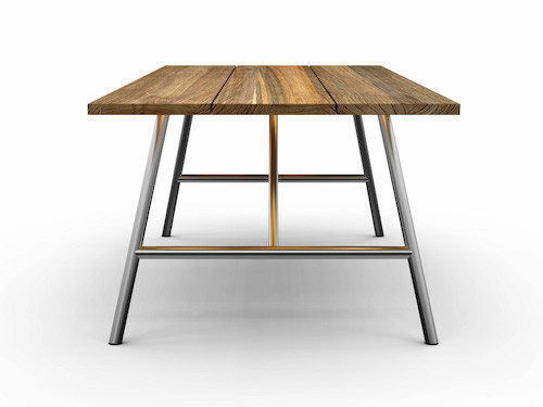 Avoy Reclaimed Teak And Stainless Steel Outdoor Table   240x100 Foldable ...