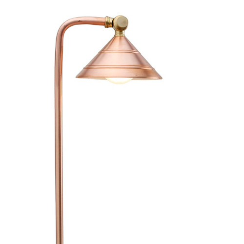 Raw Copper Circular Shade Pathway Light PPG031C (Full View)
