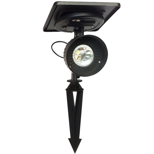 LED Solar Charged Cast Aluminum Accent Spotlight (stake mounted)