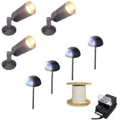 LED 3 Side-Arm Spotlight & 4 Pathway Light Landscape Light Kit - 613/307