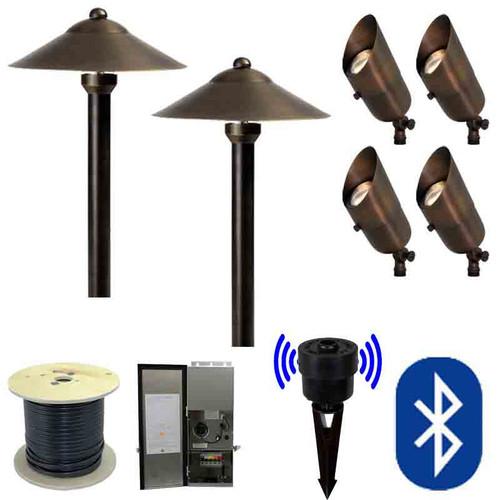 12v smartscape bluetooth led landscape 4 spotlight u0026 2 pathway combination kit smrtscpkit - Landscape Lighting Kits