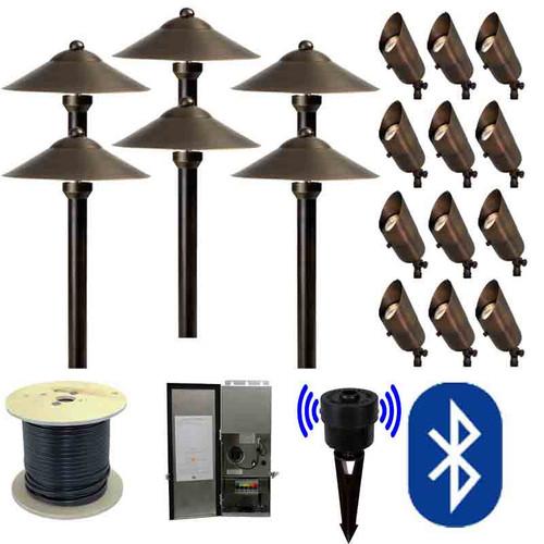 12v smartscape bluetooth led landscape 12 spotlight u0026 6 pathway combination kit smrtscpkit - Landscape Lighting Kits
