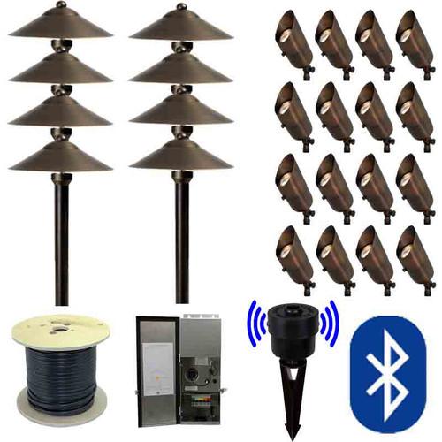 12v bluetooth led landscape 8 pathway u0026 16 spotlight combination kit smrtscpkit - Landscape Lighting Kits
