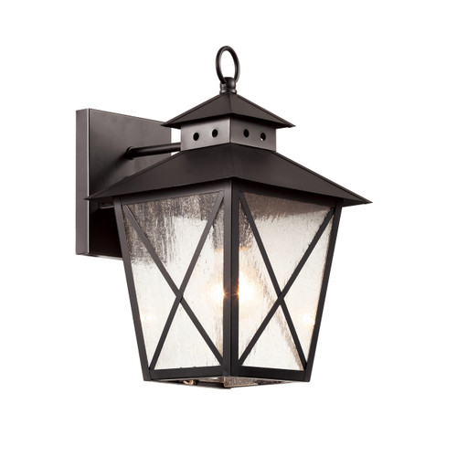 """13"""" Chimney Vented Wall Lantern in black finish and clear seeded glass"""