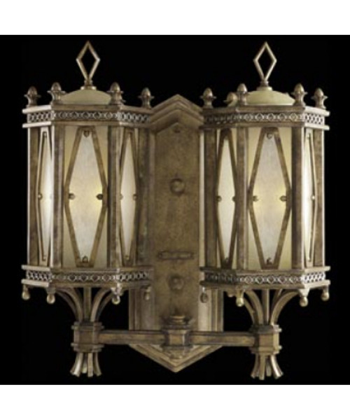 580581ST Beverly Hills 2 Light Outdoor Wall Light in antique gold finish and amber tinted etched glass