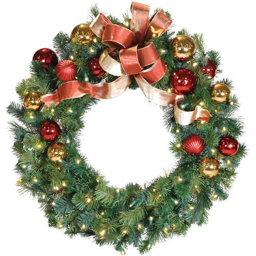 "36"" Red & Gold LED Christmas Wreath with Honey Apple Bow"