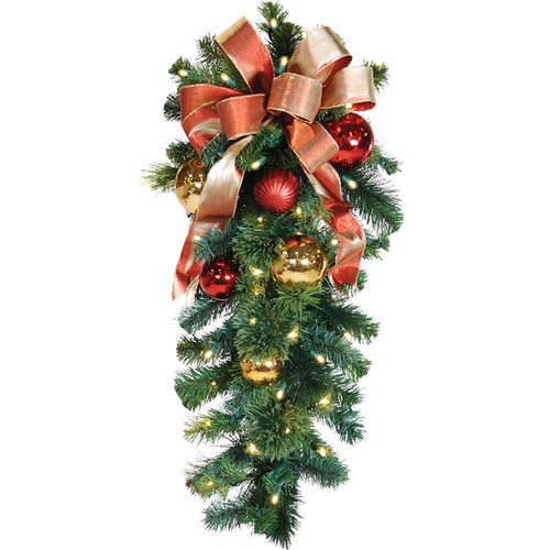"36"" Red & Gold LED Christmas Column Spray with Honey Apple Bow"