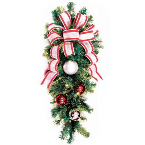 """36"""" Red & Silver LED Christmas Column Spray with Candy Cane Bow"""