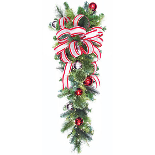 """54"""" Red & Silver LED Column Drop with Candy Cane Bow"""