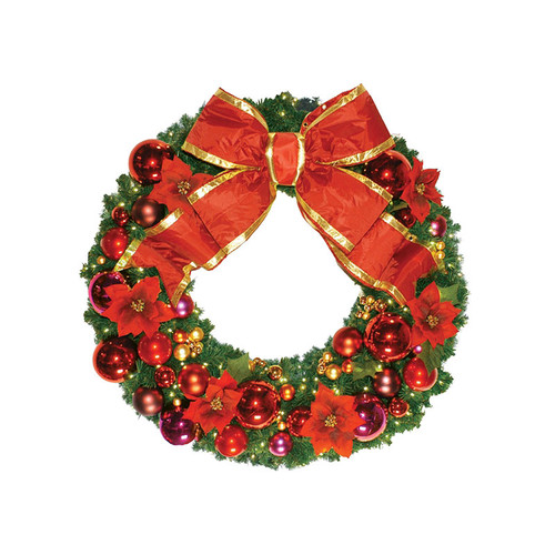 3' Red Poinsettia Holiday Designer Wreath