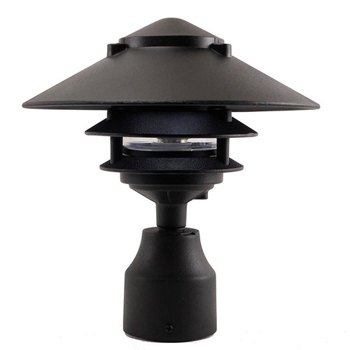 12V / 120V Large Top Cast Aluminum 3 Tier Pagoda Post Light - PPC351