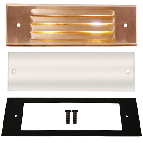 Raw Copper Louver Recessed Step Light Face Plate Replacement Kit - PRLC-HL-FP-KIT