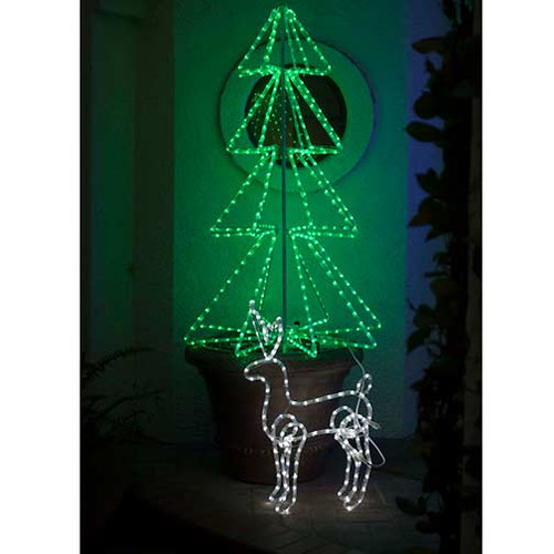 christmas reindeer motif 120v 3 wire cool white led rope light reindeer 3d motif - White Wire Christmas Tree