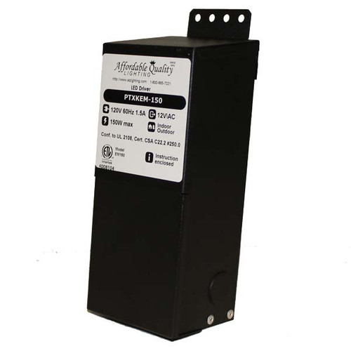 12V 150w Indoor/Outdoor Rated AC Transformer w/ Boost Tap - PTXKEM-150