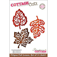 CottageCutz Die - 3 Filigree Fall Leaves Made Easy