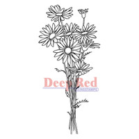 "Deep Red Cling Stamps -  Daisy Bouquet 1.5"" x 3"""