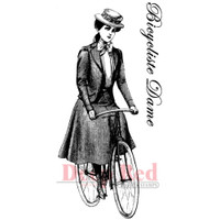 "Deep Red Cling Stamps -  Bicyclist Lady 3.25"" x 1.5"""