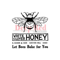 "Deep Red Cling Stamps -  Honey Bee Vintage 2"" x 2"""