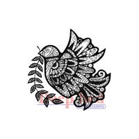 "Deep Red Cling Stamps -  Dove Zentangle 2"" x 2"""