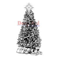 "Deep Red Cling Stamps -  Decorated Christmas Tree 1.5""X3"""