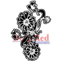 "Deep Red Cling Stamps -  Dianthus Chalk Flowers 2""X3"""