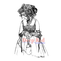 "Deep Red Cling Stamps -  Lady In Lace 2""X3"""