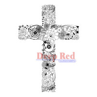 "Deep Red Cling Stamps -  Floral Cross 2"" x 3"""